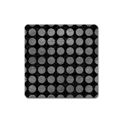 Circles1 Black Marble & Gray Leather Square Magnet