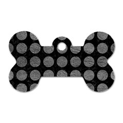 Circles1 Black Marble & Gray Leather Dog Tag Bone (two Sides)