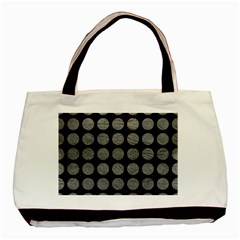 Circles1 Black Marble & Gray Leather Basic Tote Bag (two Sides)
