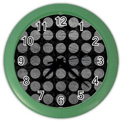Circles1 Black Marble & Gray Leather Color Wall Clocks