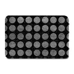 Circles1 Black Marble & Gray Leather Plate Mats