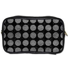 Circles1 Black Marble & Gray Leather Toiletries Bags 2 Side