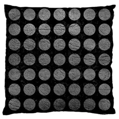 Circles1 Black Marble & Gray Leather Large Cushion Case (one Side)