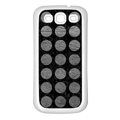 Circles1 Black Marble & Gray Leather Samsung Galaxy S3 Back Case (white)