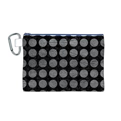 Circles1 Black Marble & Gray Leather Canvas Cosmetic Bag (m)