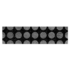 Circles1 Black Marble & Gray Leather Satin Scarf (oblong)