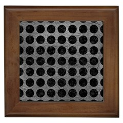 Circles1 Black Marble & Gray Leather (r) Framed Tiles