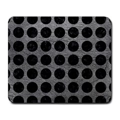 Circles1 Black Marble & Gray Leather (r) Large Mousepads