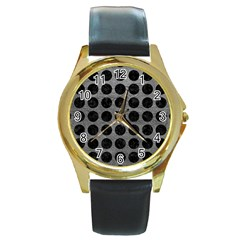 Circles1 Black Marble & Gray Leather (r) Round Gold Metal Watch
