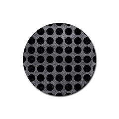 Circles1 Black Marble & Gray Leather (r) Rubber Coaster (round)