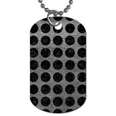 Circles1 Black Marble & Gray Leather (r) Dog Tag (two Sides)