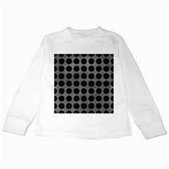 Circles1 Black Marble & Gray Leather (r) Kids Long Sleeve T Shirts