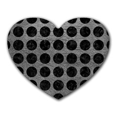 Circles1 Black Marble & Gray Leather (r) Heart Mousepads