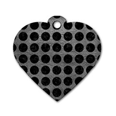 Circles1 Black Marble & Gray Leather (r) Dog Tag Heart (two Sides)