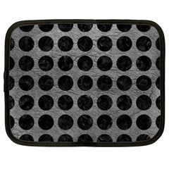 Circles1 Black Marble & Gray Leather (r) Netbook Case (xxl)