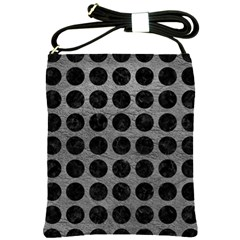 Circles1 Black Marble & Gray Leather (r) Shoulder Sling Bags
