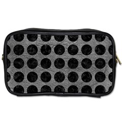Circles1 Black Marble & Gray Leather (r) Toiletries Bags