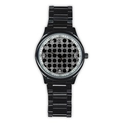 Circles1 Black Marble & Gray Leather (r) Stainless Steel Round Watch