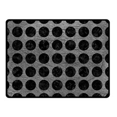 Circles1 Black Marble & Gray Leather (r) Double Sided Fleece Blanket (small)