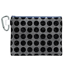 Circles1 Black Marble & Gray Leather (r) Canvas Cosmetic Bag (xl)