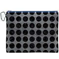 Circles1 Black Marble & Gray Leather (r) Canvas Cosmetic Bag (xxxl)