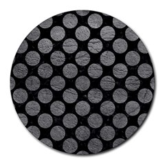 Circles2 Black Marble & Gray Leather Round Mousepads