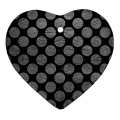 Circles2 Black Marble & Gray Leather Ornament (heart)