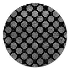 Circles2 Black Marble & Gray Leather Magnet 5  (round)