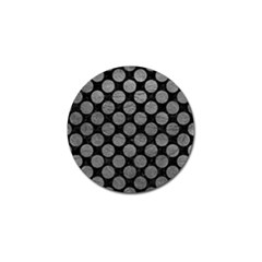 Circles2 Black Marble & Gray Leather Golf Ball Marker