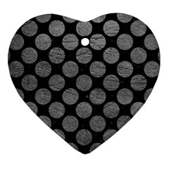 Circles2 Black Marble & Gray Leather Heart Ornament (two Sides)