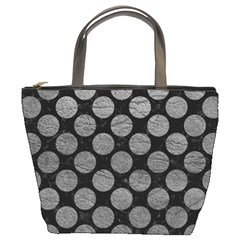 Circles2 Black Marble & Gray Leather Bucket Bags