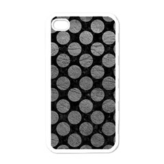 Circles2 Black Marble & Gray Leather Apple Iphone 4 Case (white)