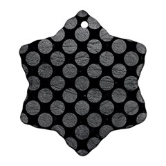 Circles2 Black Marble & Gray Leather Ornament (snowflake)