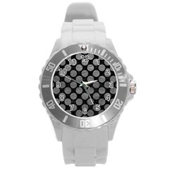 Circles2 Black Marble & Gray Leather Round Plastic Sport Watch (l)