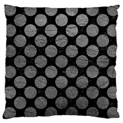 Circles2 Black Marble & Gray Leather Large Cushion Case (two Sides)