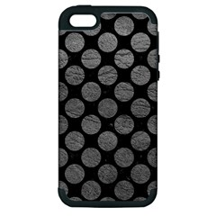 Circles2 Black Marble & Gray Leather Apple Iphone 5 Hardshell Case (pc+silicone)