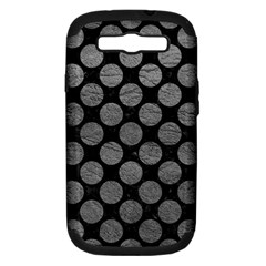 Circles2 Black Marble & Gray Leather Samsung Galaxy S Iii Hardshell Case (pc+silicone)