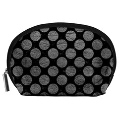 Circles2 Black Marble & Gray Leather Accessory Pouches (large)