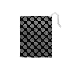 Circles2 Black Marble & Gray Leather Drawstring Pouches (small)