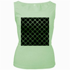 Circles2 Black Marble & Gray Leather (r) Women s Green Tank Top