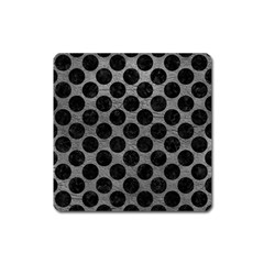 Circles2 Black Marble & Gray Leather (r) Square Magnet