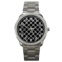 Circles2 Black Marble & Gray Leather (r) Sport Metal Watch