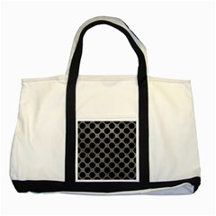 Circles2 Black Marble & Gray Leather (r) Two Tone Tote Bag