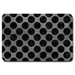 Circles2 Black Marble & Gray Leather (r) Large Doormat