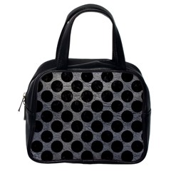Circles2 Black Marble & Gray Leather (r) Classic Handbags (one Side)