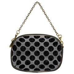 Circles2 Black Marble & Gray Leather (r) Chain Purses (one Side)