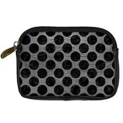 Circles2 Black Marble & Gray Leather (r) Digital Camera Cases