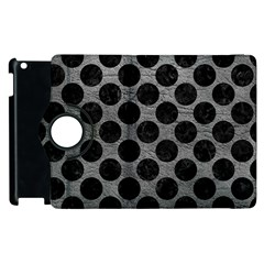 Circles2 Black Marble & Gray Leather (r) Apple Ipad 3/4 Flip 360 Case