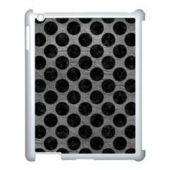 Circles2 Black Marble & Gray Leather (r) Apple Ipad 3/4 Case (white)