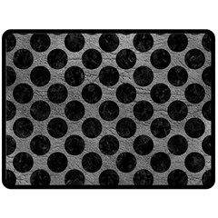 Circles2 Black Marble & Gray Leather (r) Double Sided Fleece Blanket (large)